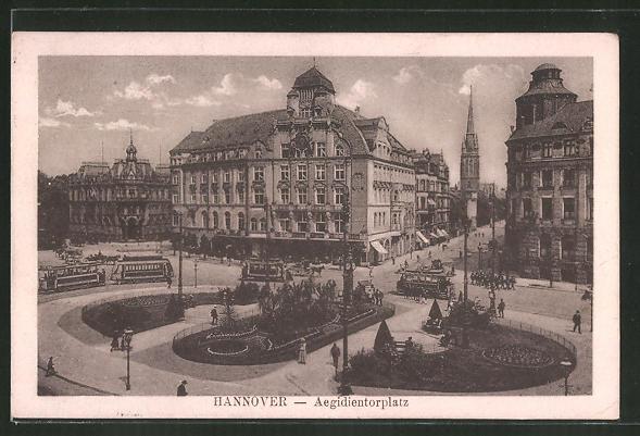 AK Hannover, Strassenbahnen auf dem Aegidientorplatz 0