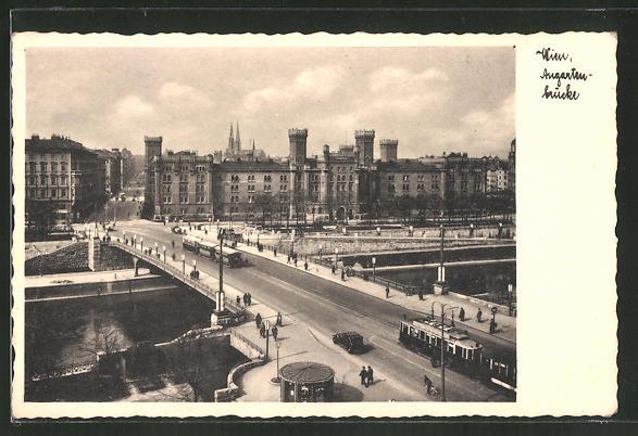 AK Wien, Strassenbahnen auf der Augartenbrücke 0