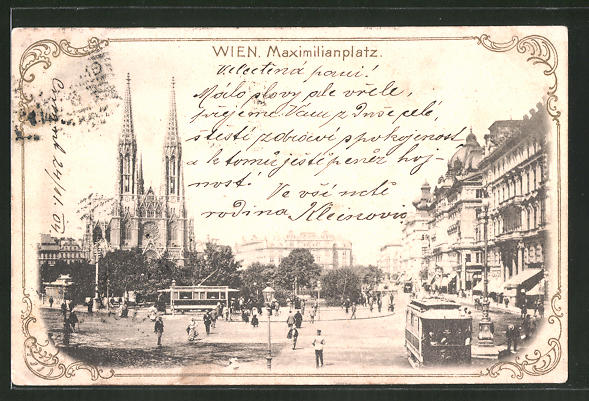 AK Wien, Strassenbahnen am Maximilianplatz 0