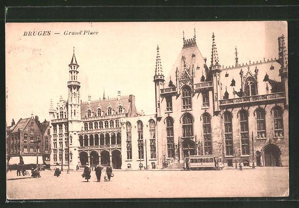 AK Bruges, Grand Place, Strassenbahn 0
