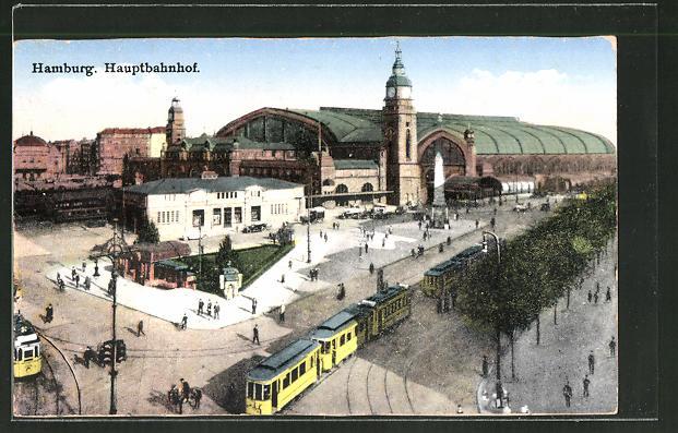 AK Hamburg, Strassenbahnen am Hauptbahnhof 0