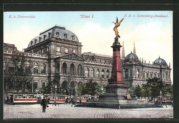 AK Wien, Strassenbahn an der Universität und Liebenberg-Denkmal 0