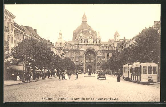 AK Anvers, Strassenbahn, Avenue de Keyser et la Gare Centrale 0