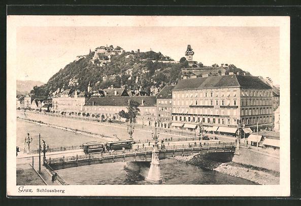 AK Graz, Strassenbahn über die Brücke zum Schlossberg 0