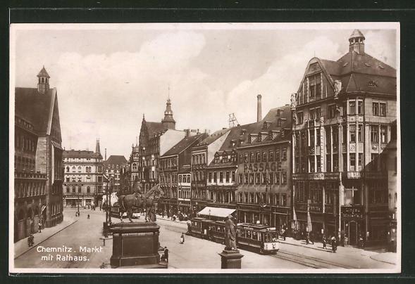 AK Chemnitz, Strassenbahn am Markt mit Rathaus 0