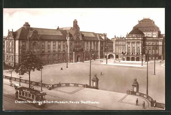 AK Chemnitz, Strassenbahn am König-Albert Museum und neuem Stadttheater 0