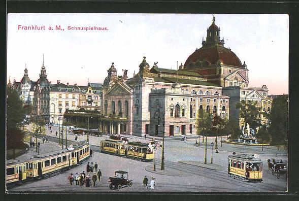 AK Frankfurt am Main, Strassenbahnen am Schauspielhaus 0