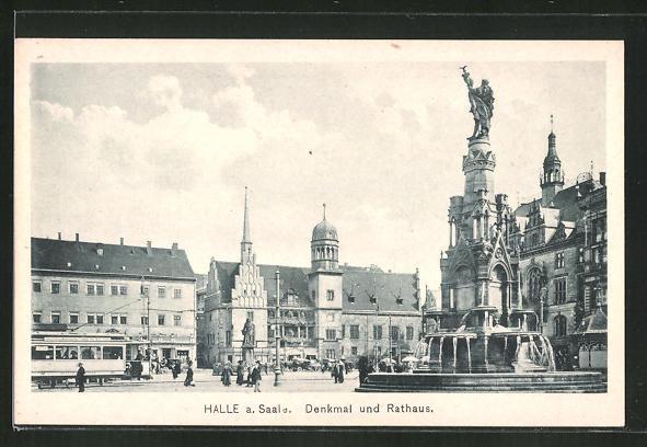 AK Halle a.d. Saale, Strassenbahn am Denkmal und Rathaus 0