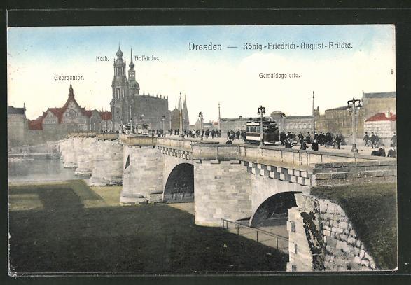 AK Dresden, Strassenbahn auf der König-Friedrich-August-Brücke 0