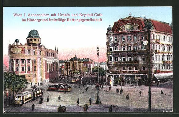 AK Wien, Strassenbahnen am Aspernplatz mit Urania und Krystall-Cafe