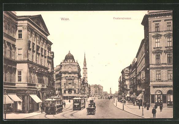 AK Wien, Strassenbahnen in der Praterstrasse