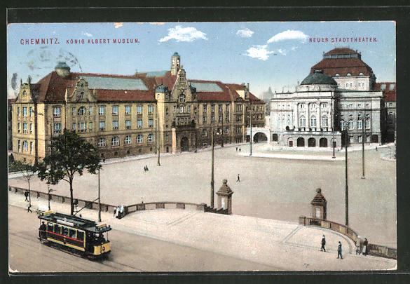 AK Chemnitz, Strassenbahn am König Albert-Museum, neues Stadttheater