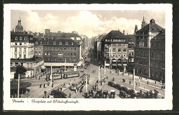 AK Dresden, Strassenbahnen auf dem Postplatz und in der Wilsdrufferstrasse