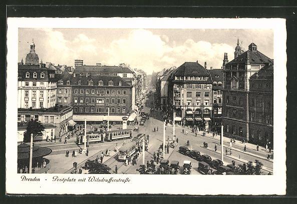 AK Dresden, Strassenbahn auf dem Postplatz und in der Wilsdrufferstrasse