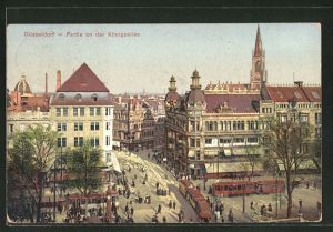 AK Düsseldorf, Strassenbahnen mit Partie an der Königsallee
