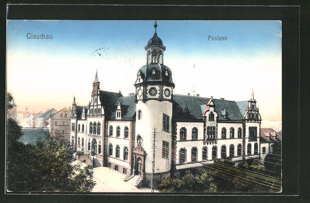 AK Glauchau, Strassenpartie am Postamt 0