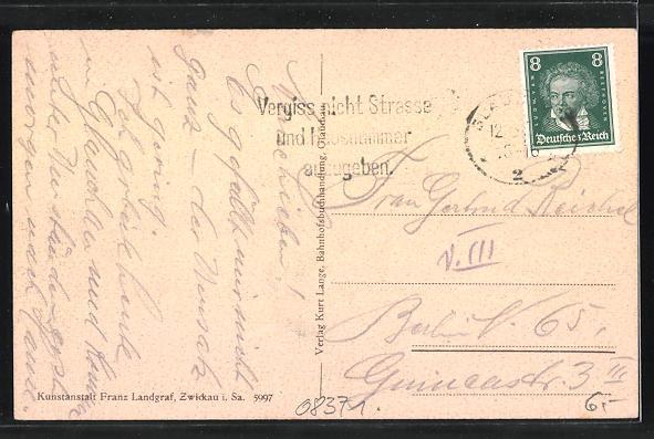 AK Glauchau, Leipzigerstrasse mit Post und Reichsbank 1