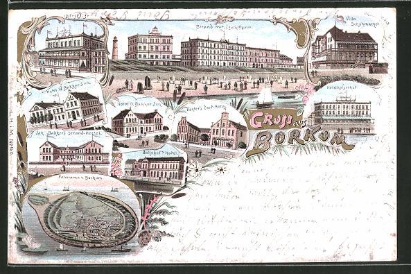 Lithographie Borkum, Blick auf Hotel Eltze, Hotel O. Bakker Jun., Köhler's Dorf-Hotel u. Bahnhof's Hotel