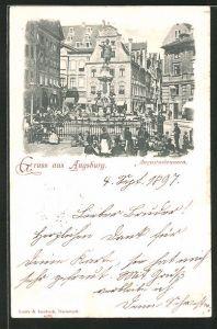 AK Augsburg, reges Treiben am Augustusbrunnen