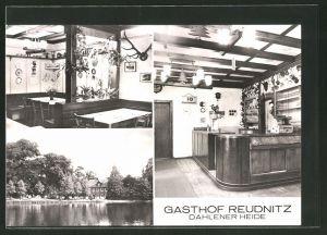 AK Reudnitz, Gasthof Reudnitz, Innenansichten und Seepartie