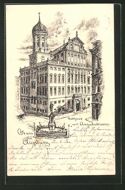 AK Augsburg, Rathaus mit Augustusbrunnen 0