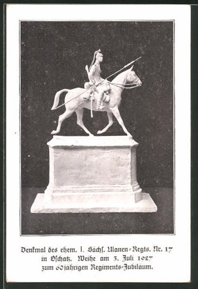 AK Oschatz, Denkmal des ehem. I. Sächs. Ulanen-Regts. Nr. 17 0