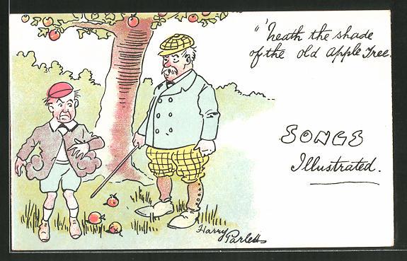 Künstler-AK Songs illustrated, 'heath the shade of the old apple tree, Szene unter Apfelbaum