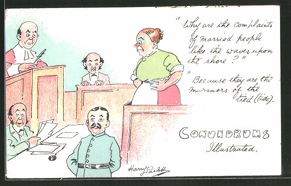 Künstler-AK Conundrums illustrated, Why are the complaints of married people..., Gewalt in der Ehe