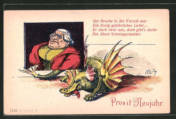 Künstler-AK Prosit Neujahr, Der Drache in der Vorzeit war..., frauenfeindlicher Humor