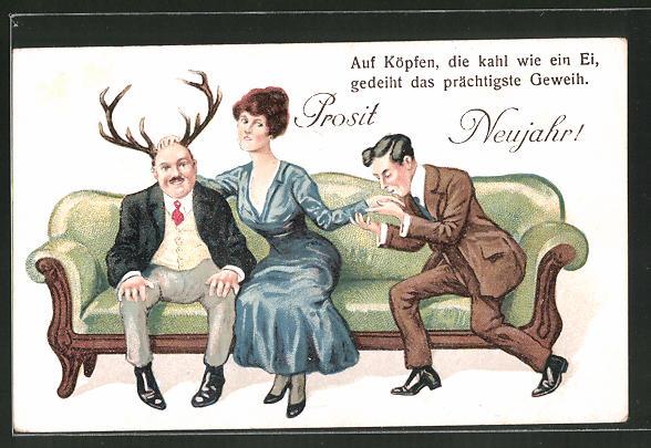 AK Prosit Neujahr!, Auf Köpfen, die kahl wie ein Ei..., Scherz