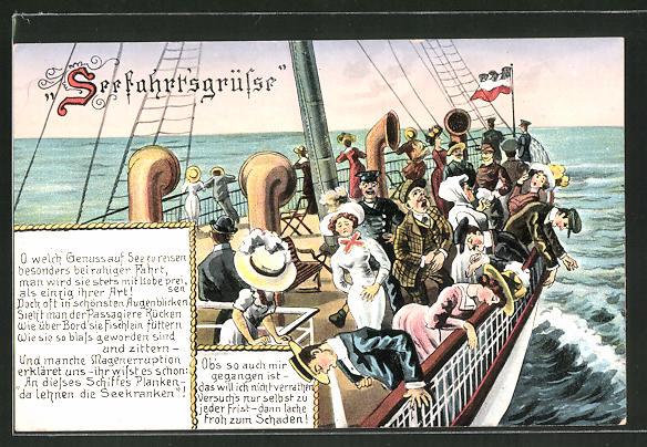 AK Seefahrtsgrüsse, Passagiere über der Reeling