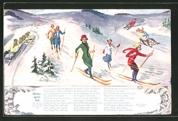 AK Wintersportlied, Rodler und Skiläufer