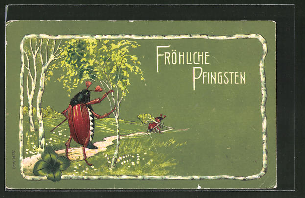 Präge-AK Fröhliche Pfingsten, menschliche Maikäfer