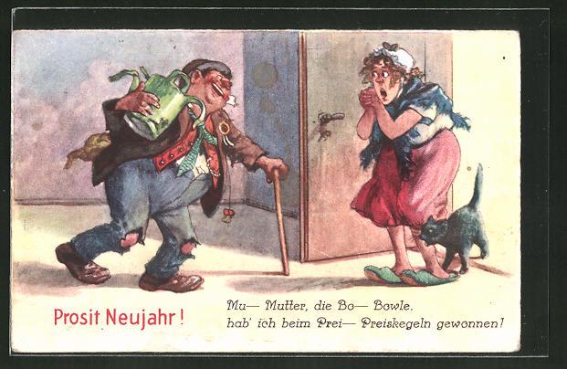 AK Prosit Neujahr!, Mu-Mutter, die Bo-Bowle..., vergnügter Zecher und Gattin