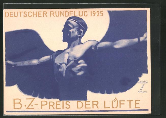 Künstler-AK Ludwig Hohlwein: B.Z.-Preis der Lüfte 1925, Deutscher Rundflug 1925