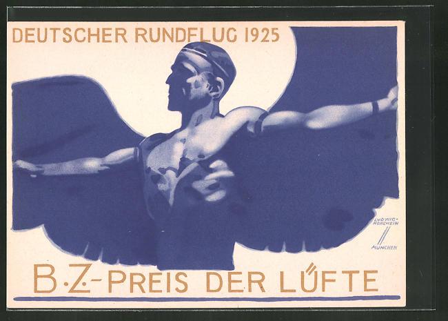 Künstler-AK Ludwig Hohlwein: Deutscher Rundflug 1925, B.Z.-Preis der Lüfte 1925, Ikarus