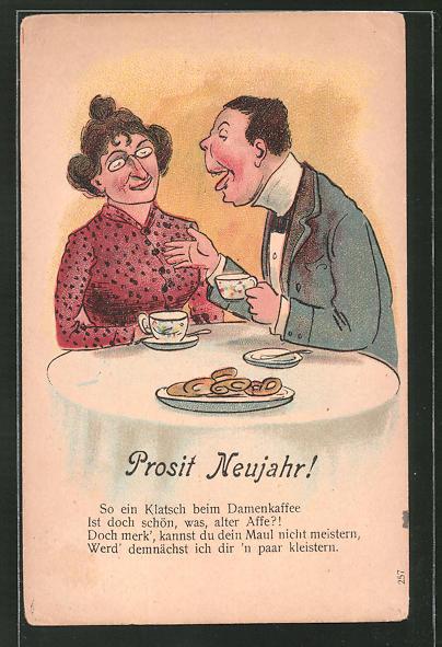 AK Prosit Neujahr!, So ein Klatsch beim Damenkaffee..., Scherz