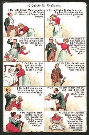 AK 10 Gebote für Ehefrauen, frauenfeindlicher Humor