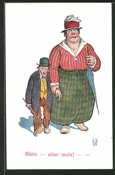 AK Klein- aber mein!, Grosse Frau hält die Hand von ihrem kleinen Mann, frauenfeindlicher Humor