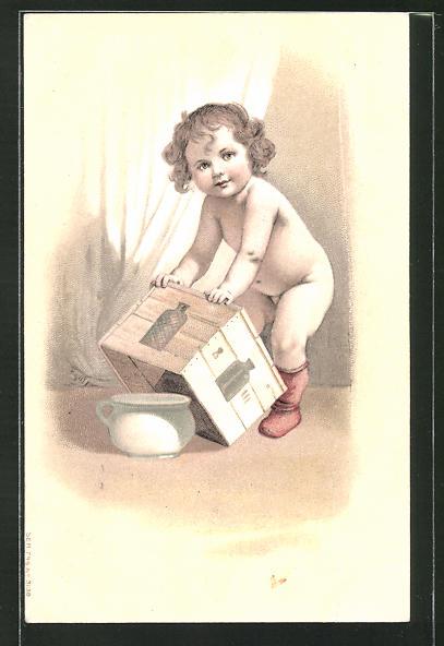 Präge-AK nacktes Baby stellt eine Kiste über den Topf, Toilettenhumor