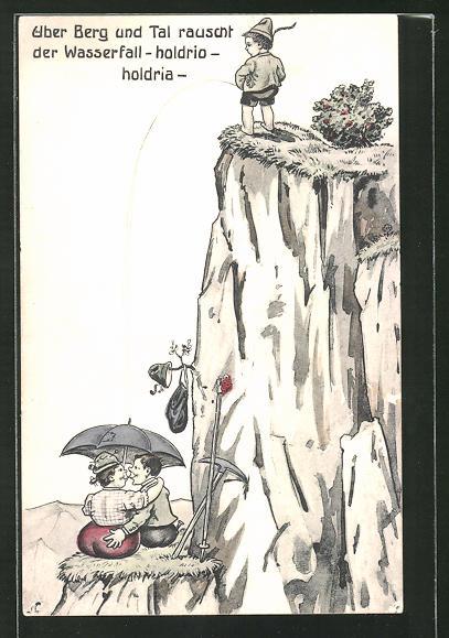AK Über Berg und Tal rauscht der Wasserfall -holdrio-holdria-, Junge pinkelt Paar auf den Regenschirm