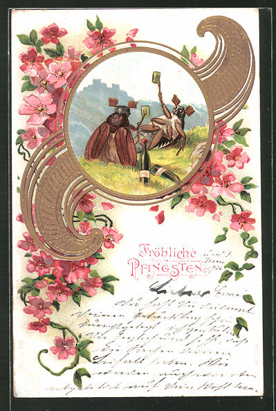 Präge-Lithographie Fröhliche Pfingsten, vergnügte Maikäfer