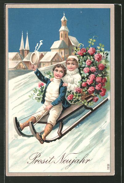 Präge-AK Prosit Neujahr, kleine Gratulanten auf Schlitten