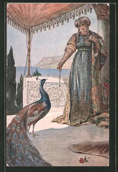 Künstler-AK S. Solomko: Die Eitelkeit, orientalische Frau mit Pfau