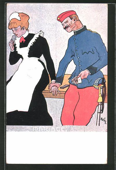 Künstler-AK Soldat mit Herzblatt auf der Hand flirtet mit einem Dienstmädchen