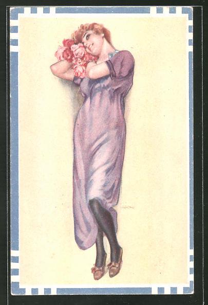Künstler-AK Leopoldo Metlicovitz: Junge Frau im Sommerkleid schmiegt sich an Rosenblüten