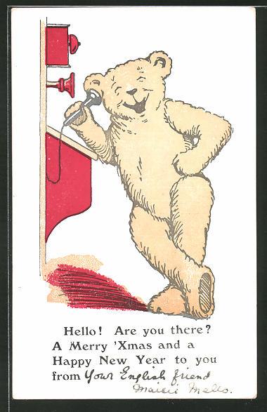 AK Lachender Teddy am Telefon: