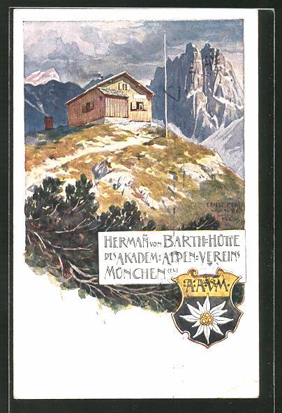 Künstler-AK Ernst Platz: Herman von Barth-Hütte in den Alpen
