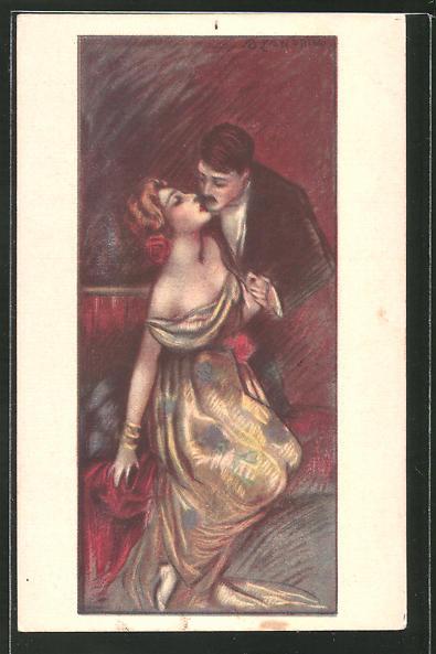Künstler-AK A. Zandrino: Liebespaar in erotischer Pose