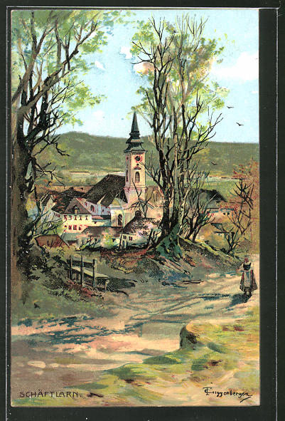 Künstler-AK Theodor Guggenberger: Schäftlarn, Panorama